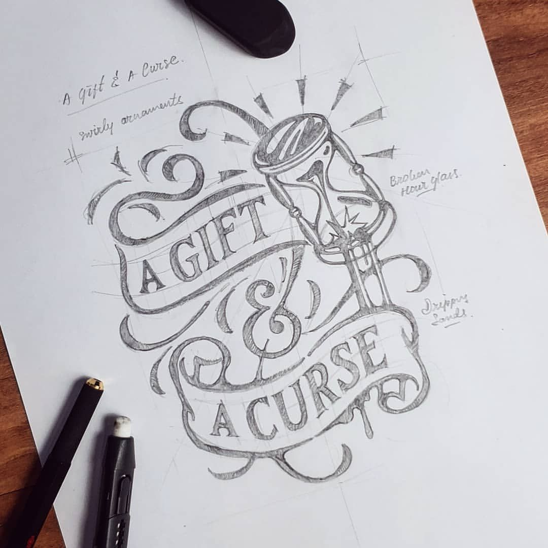 picture transparent download  a gift curse. Typography drawing sketch