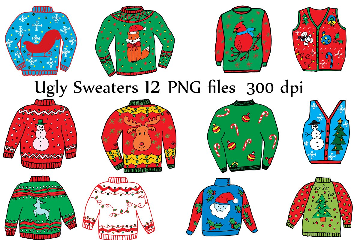 graphic black and white library Ugly christmas sweater clipart free. Illustrations creative market
