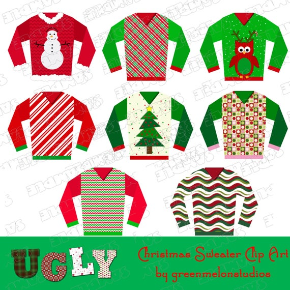 png download Ugly christmas sweater party clipart. Instant download uprint by