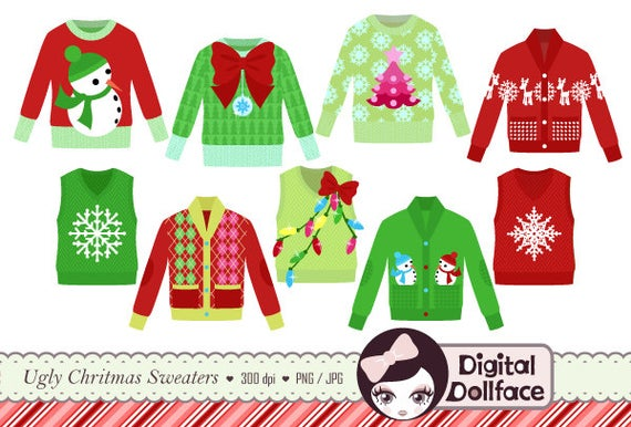 royalty free stock Ugly christmas sweater party clipart. Tacky holiday invite clip