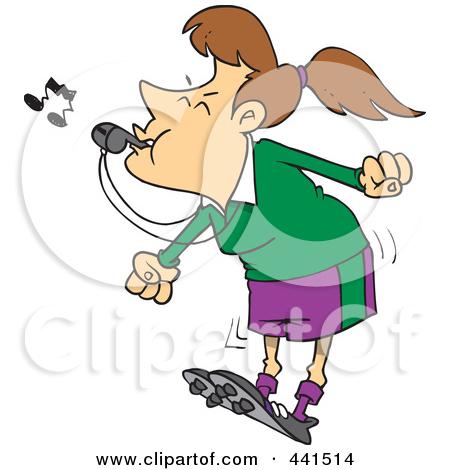 graphic freeuse stock Female referee blowing panda. Umpire clipart cartoon