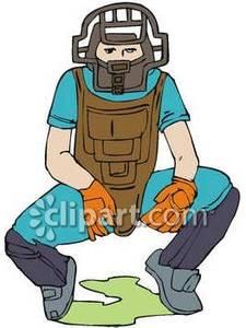 jpg library download Umpire clipart cartoon. Baseball squatting behind home