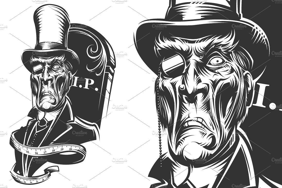freeuse stock Undertaker drawing vector. Design display ideas