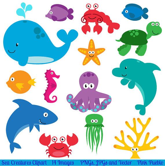 clip art royalty free library Underwater animal clipart. Sea clip art creatures