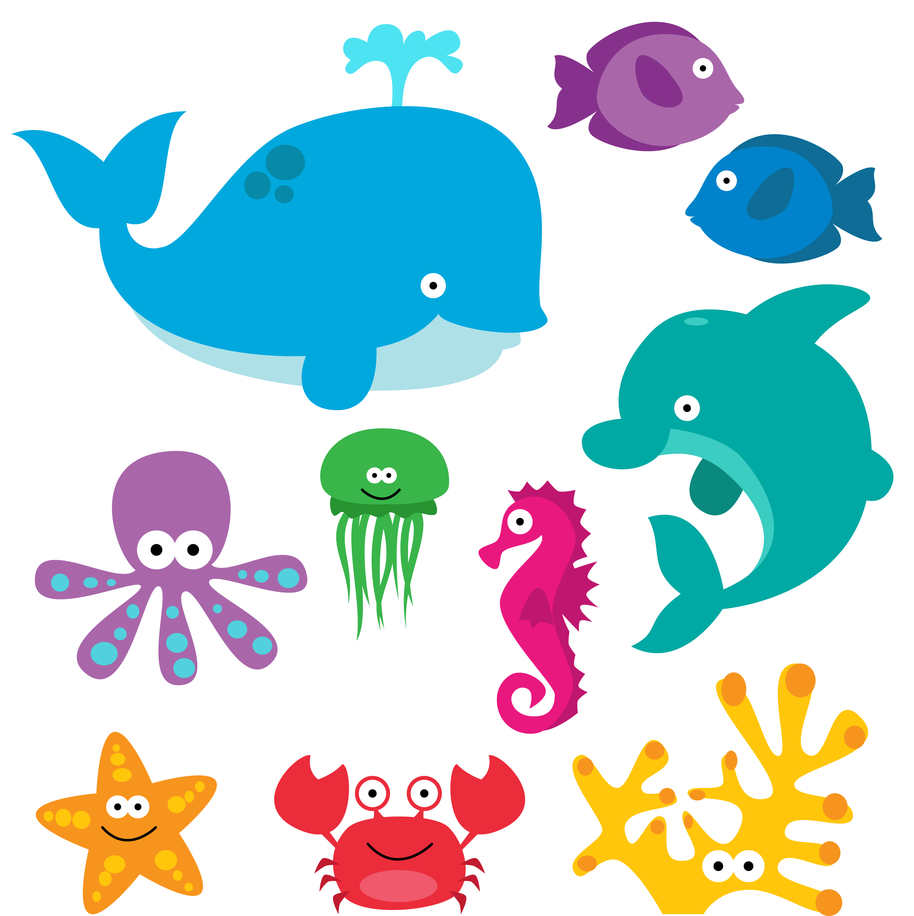 clip art royalty free library Sea clip art creatures. Underwater animal clipart