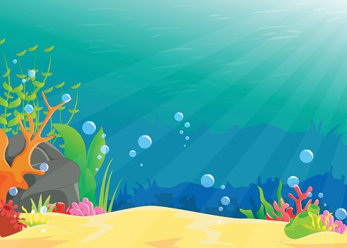 vector black and white download Illustration of landscape image. Underwater clipart