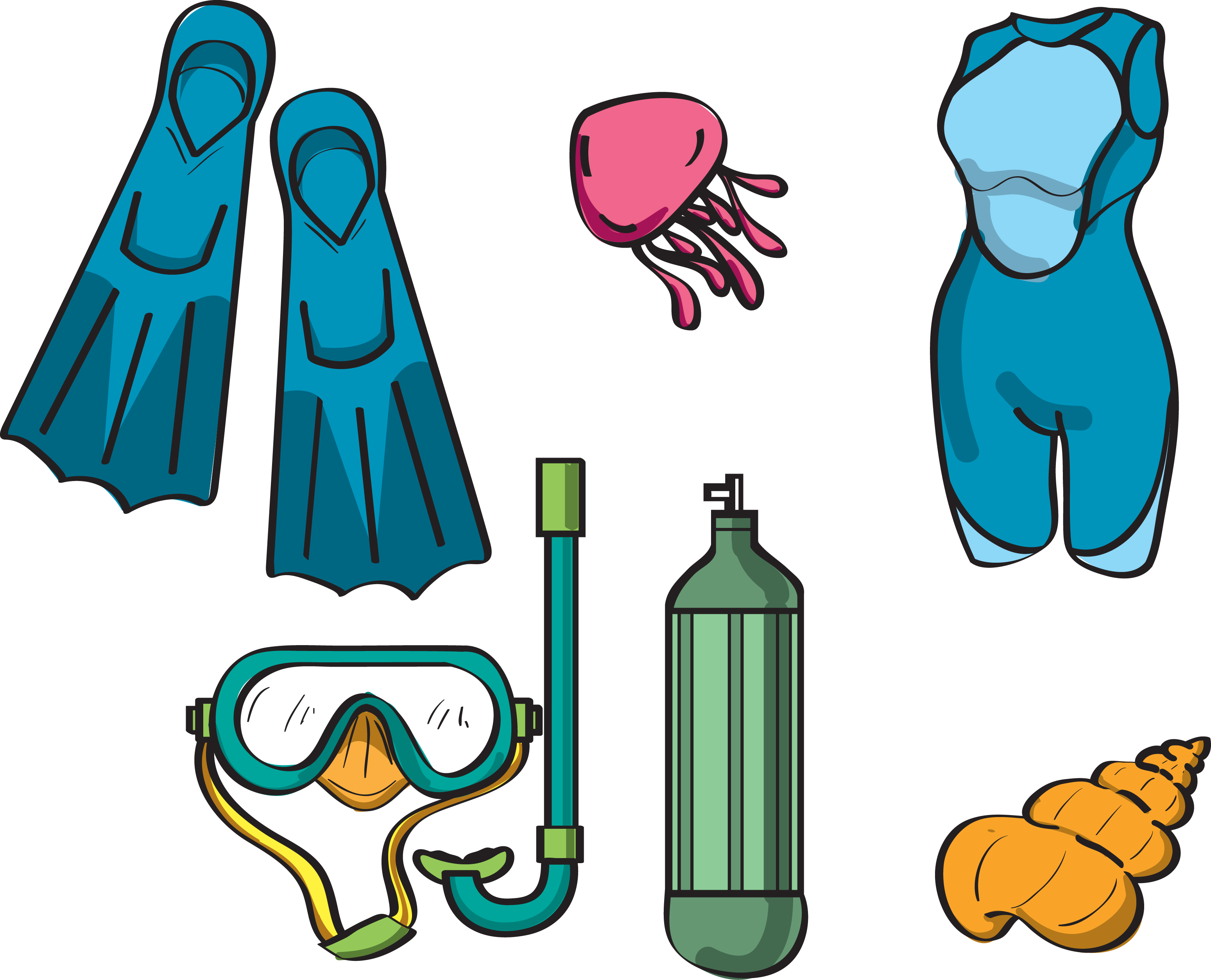 vector black and white stock Diving equipment scuba drawing. Underwater clipart