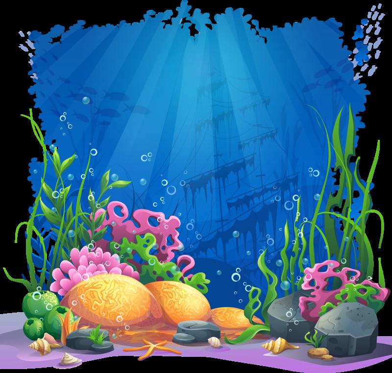 clip library stock Underwater vector. Fish illustration design coral.