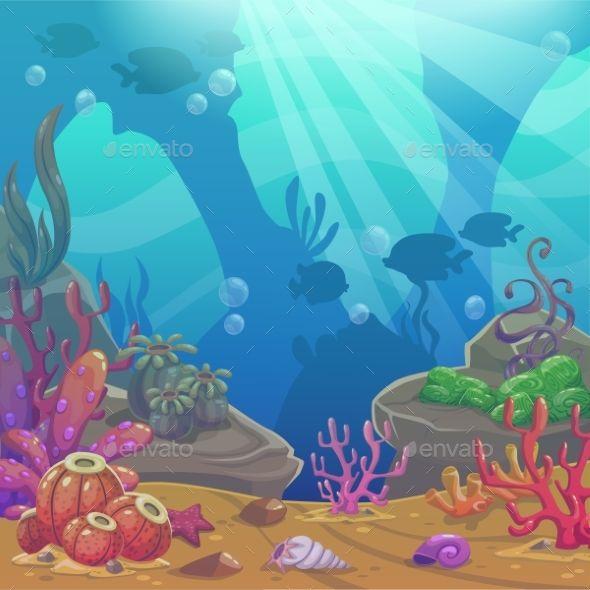 svg black and white Cartoon illustration undersea world. Underwater vector