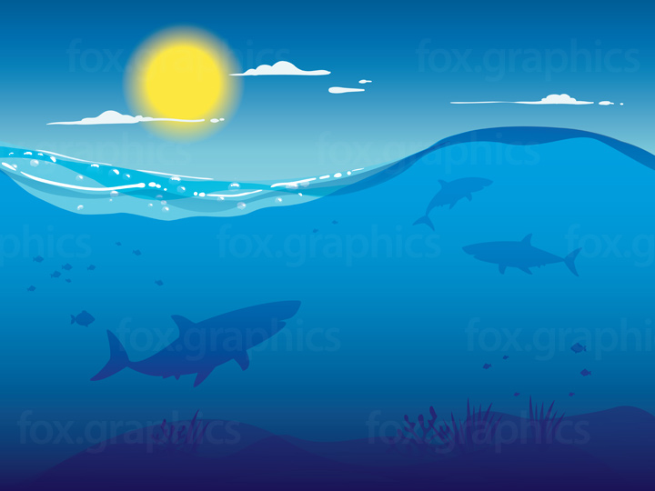png black and white download Underwater vector. Sharks fox graphics