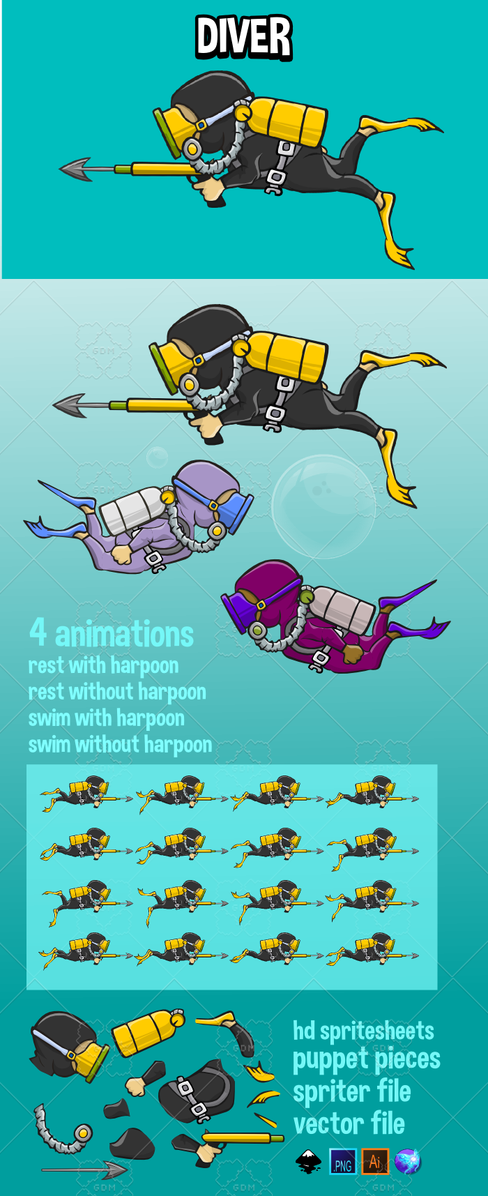 svg free download Underwater vector. Animated diver gamedev market.