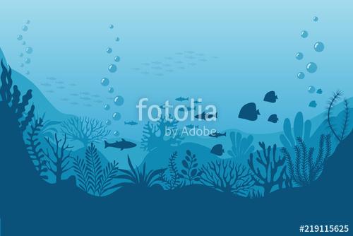 banner library download Underwater vector. Sea background ocean bottom