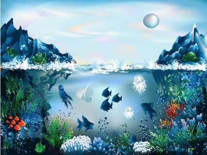image free stock Pretty world free download. Underwater vector element