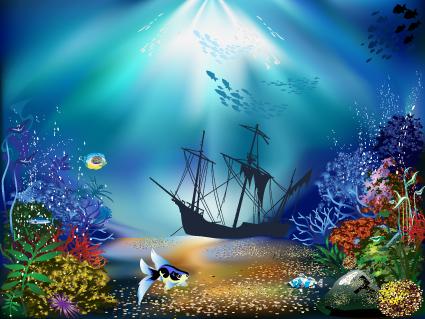 banner free Underwater vector element. Pretty world free download.
