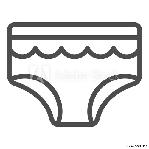 picture transparent Baby briefs line icon. Underwear vector black and white