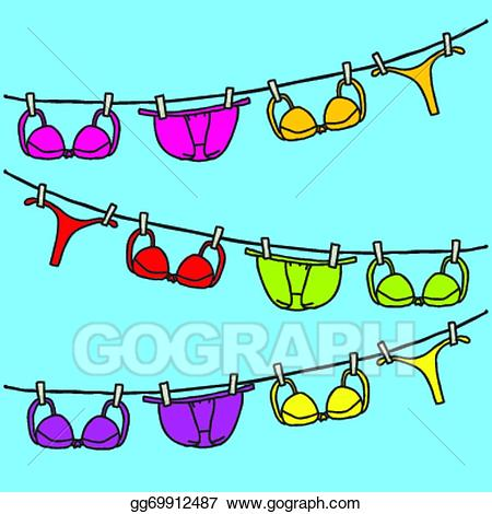 freeuse Underwear vector clothesline. Eps illustration clipart