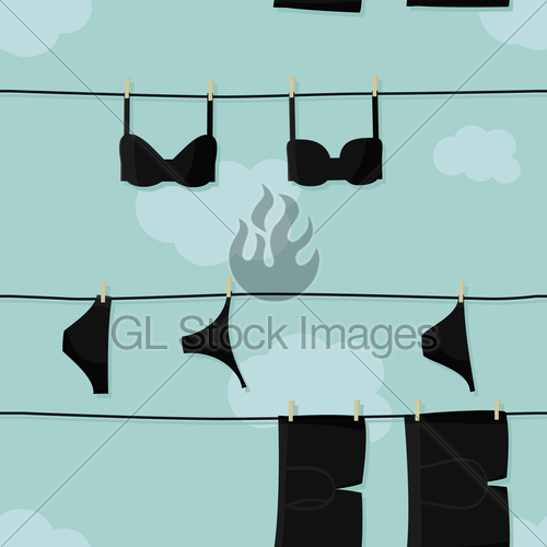 picture freeuse Hanging on gl stock. Underwear vector clothesline