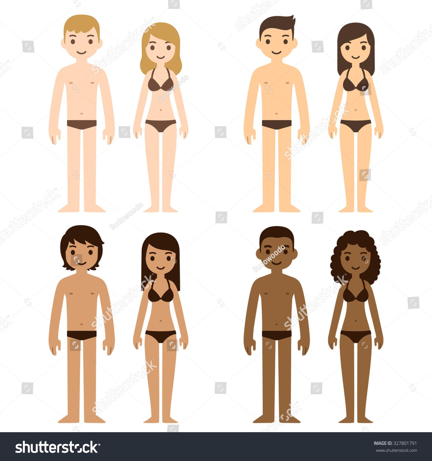 picture royalty free Cute diverse men and. Underwear vector woman