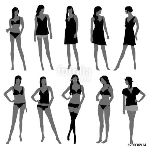 clip black and white stock Underwear vector woman. Female girl fashion lingerie