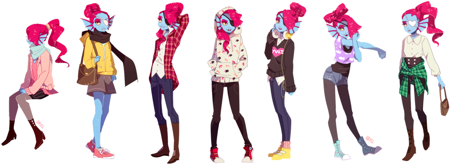 clip free Undyne transparent jacket. Fish fashion with by