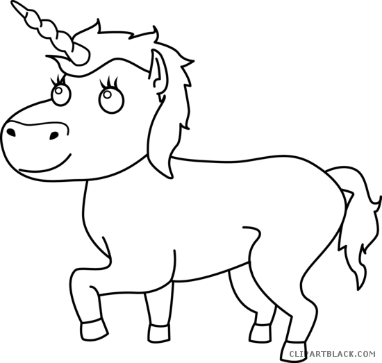 clip library library Black and White Unicorn Clipart