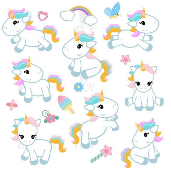 graphic royalty free Cute clip art digital. Unicorn clipart