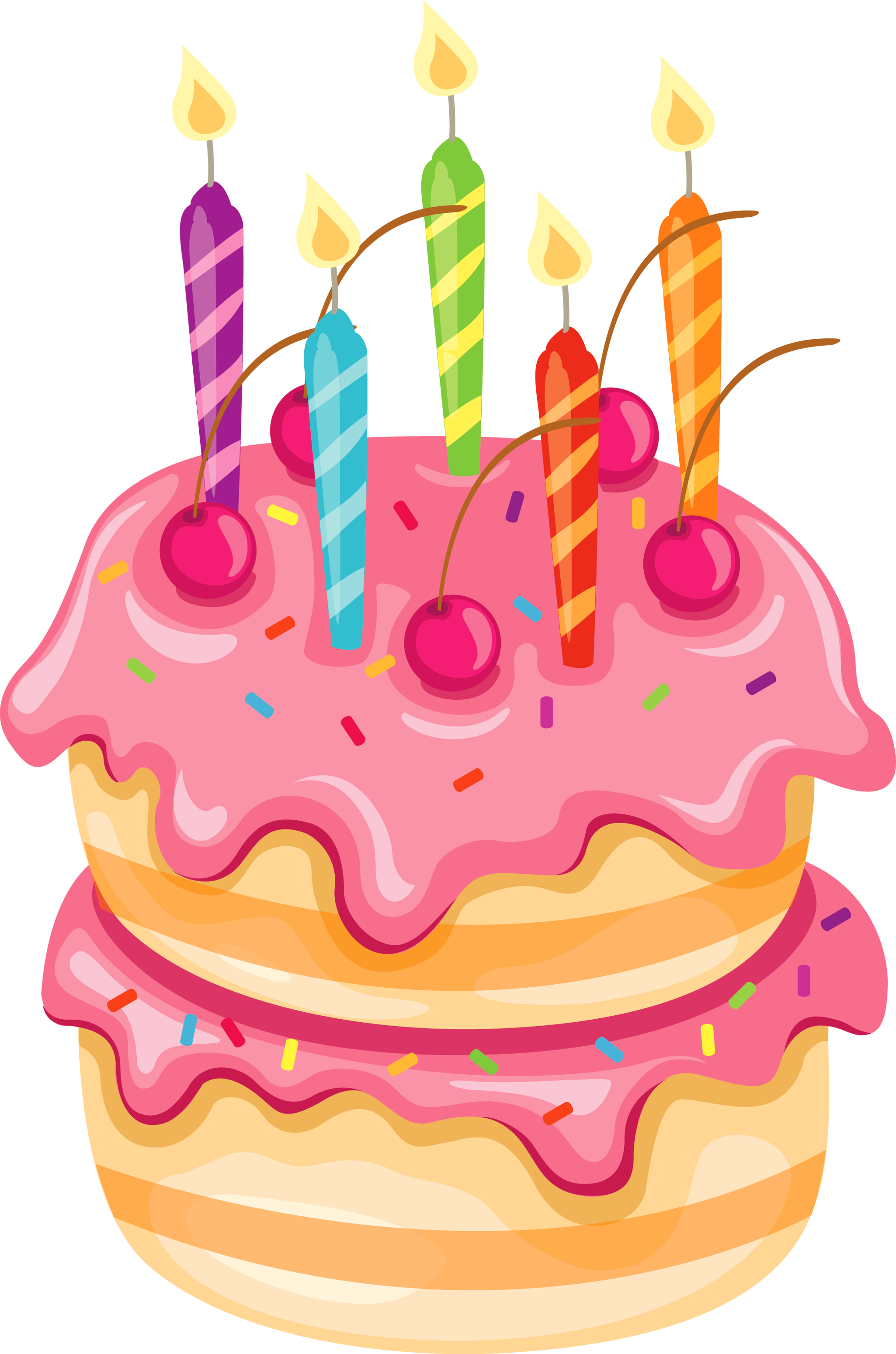 transparent library Pink cake with candles. Clipart birthday