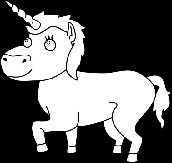 vector freeuse library Unicorn Clip Art Black And White