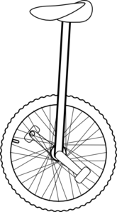 jpg black and white library Outline clip art at. Unicycle drawing