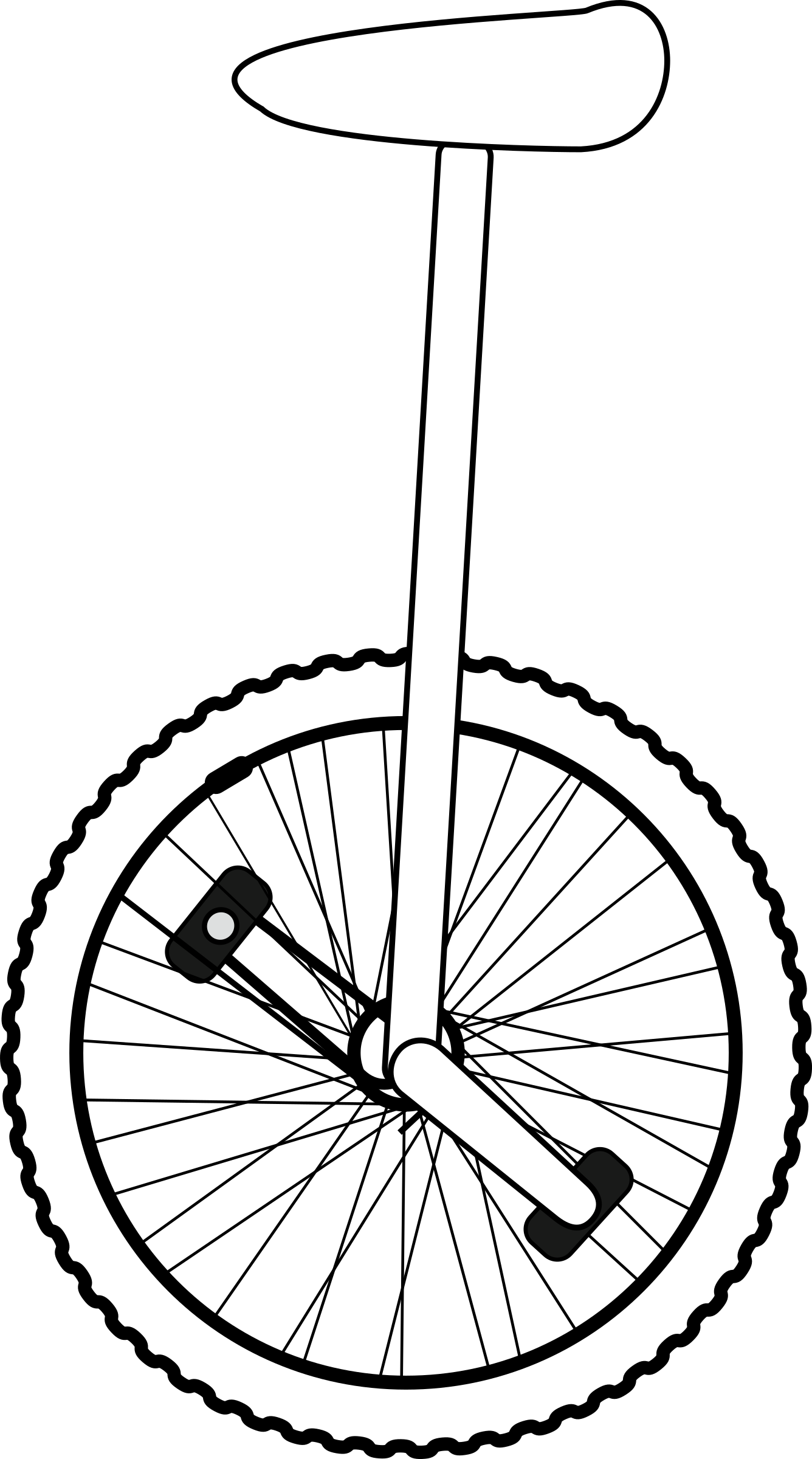 clipart free stock Clipart line art big. Unicycle drawing small