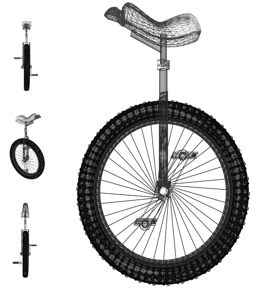 transparent Technical drawings of unicycle