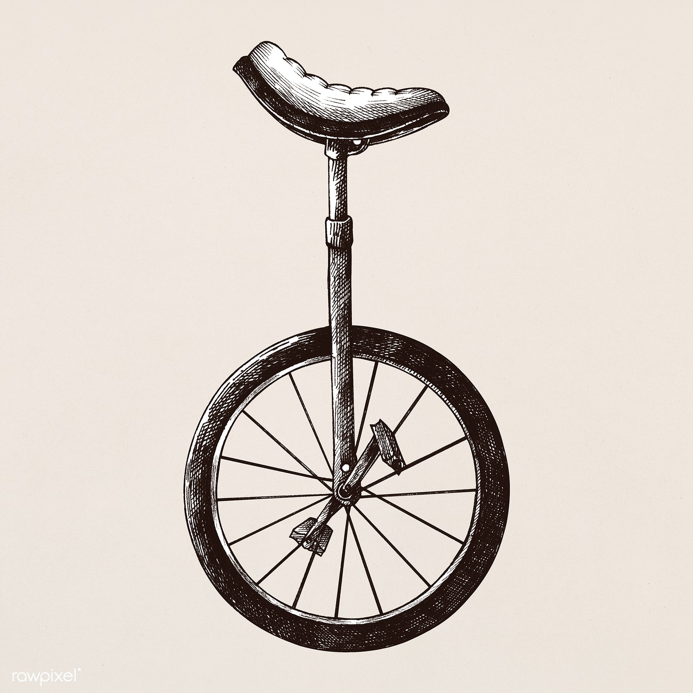 svg freeuse library Download premium illustration of. Unicycle drawing vintage