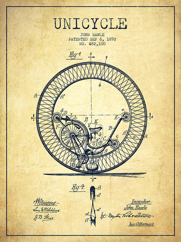 vector library library Unicycle drawing vintage. Patent from art print