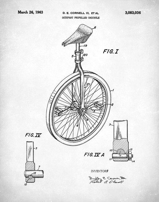 clip art download Patent prints art print. Unicycle drawing vintage