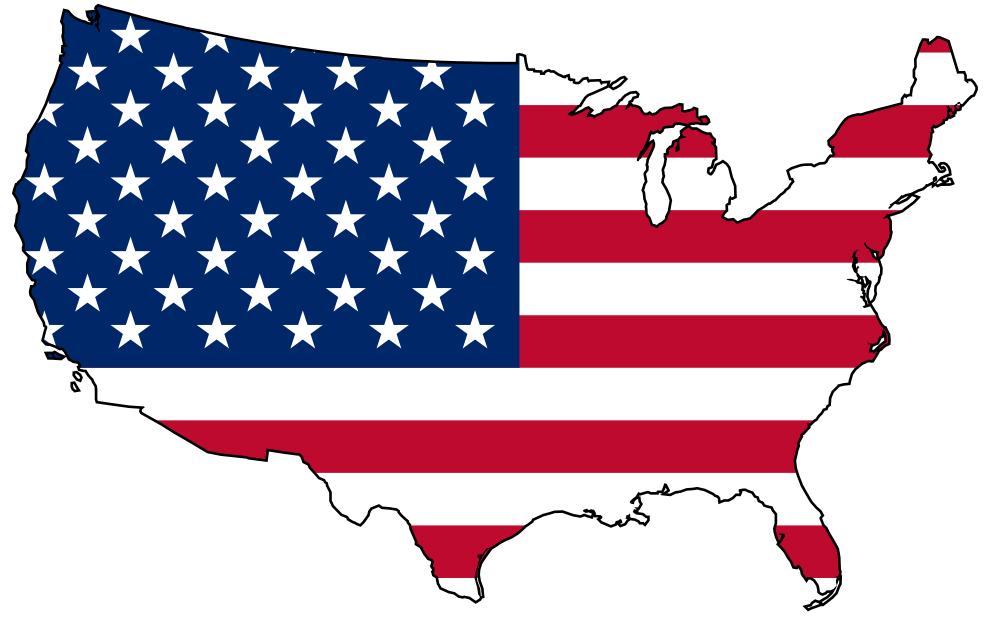 png black and white stock United states clipart. Flag with map keep