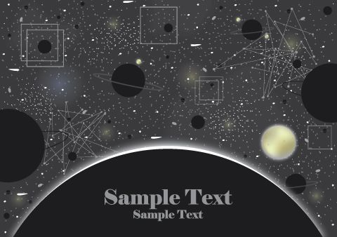 graphic black and white download Free with planets stars. Universe vector background design