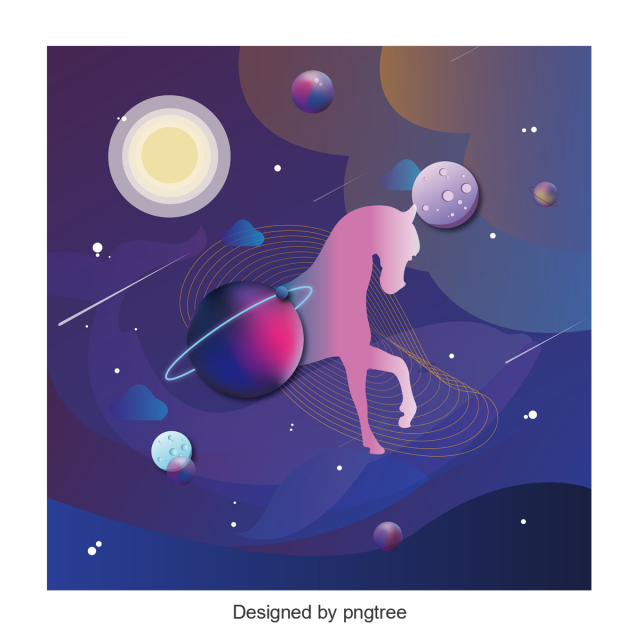 vector transparent download Simple unicorn cosmic design. Universe vector element
