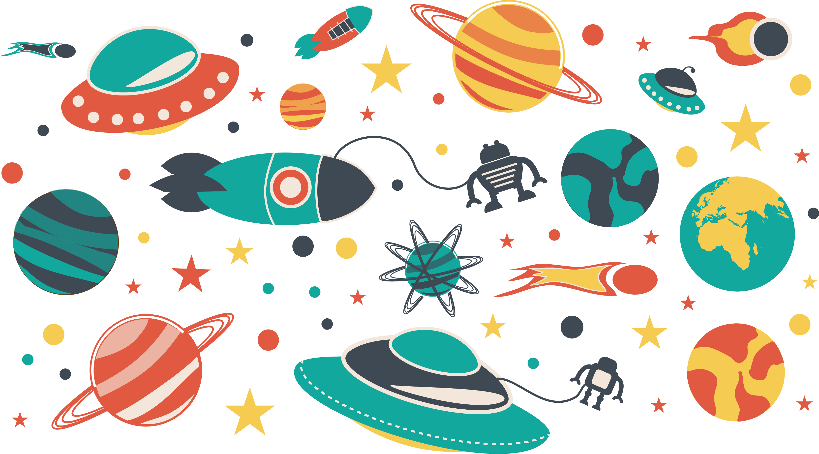 banner library library Outer space illustration flat. Universe vector illustrator