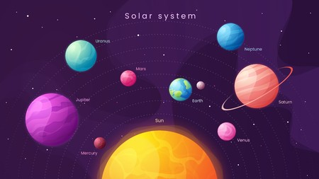 svg stock Universe vector infographic. The solar system colorful