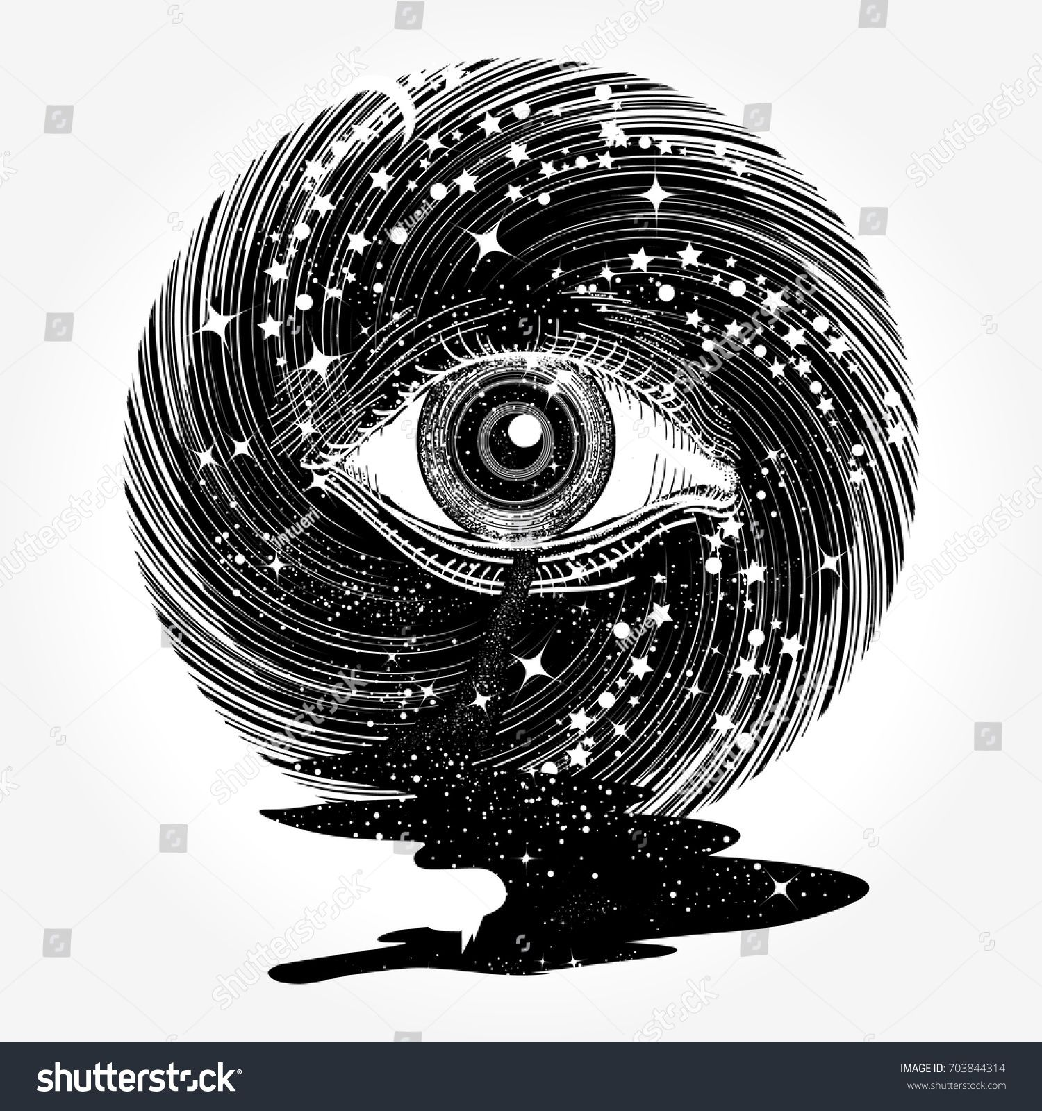 black and white stock All seeing eye in. Universe vector magic