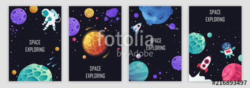 clip art royalty free Set of banner templates. Universe vector science