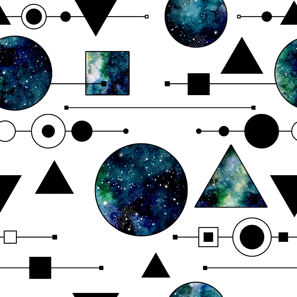 image freeuse stock Hand painted blue geometric. Universe vector starry