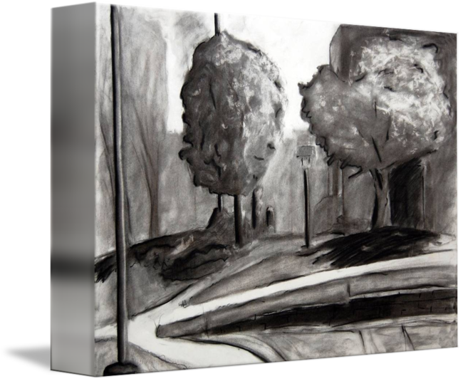 clip library download Drawing charcoal landscape. Art organic and man