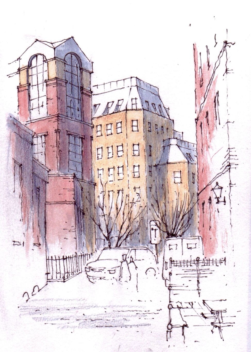 image Urban drawing downtown. Leeds sketch john edwards