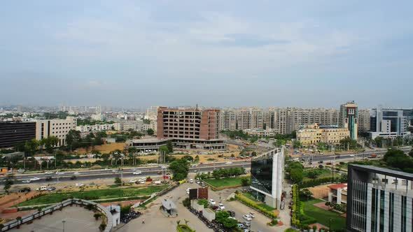 black and white Time lapse shot of. Urban vector city gurgaon