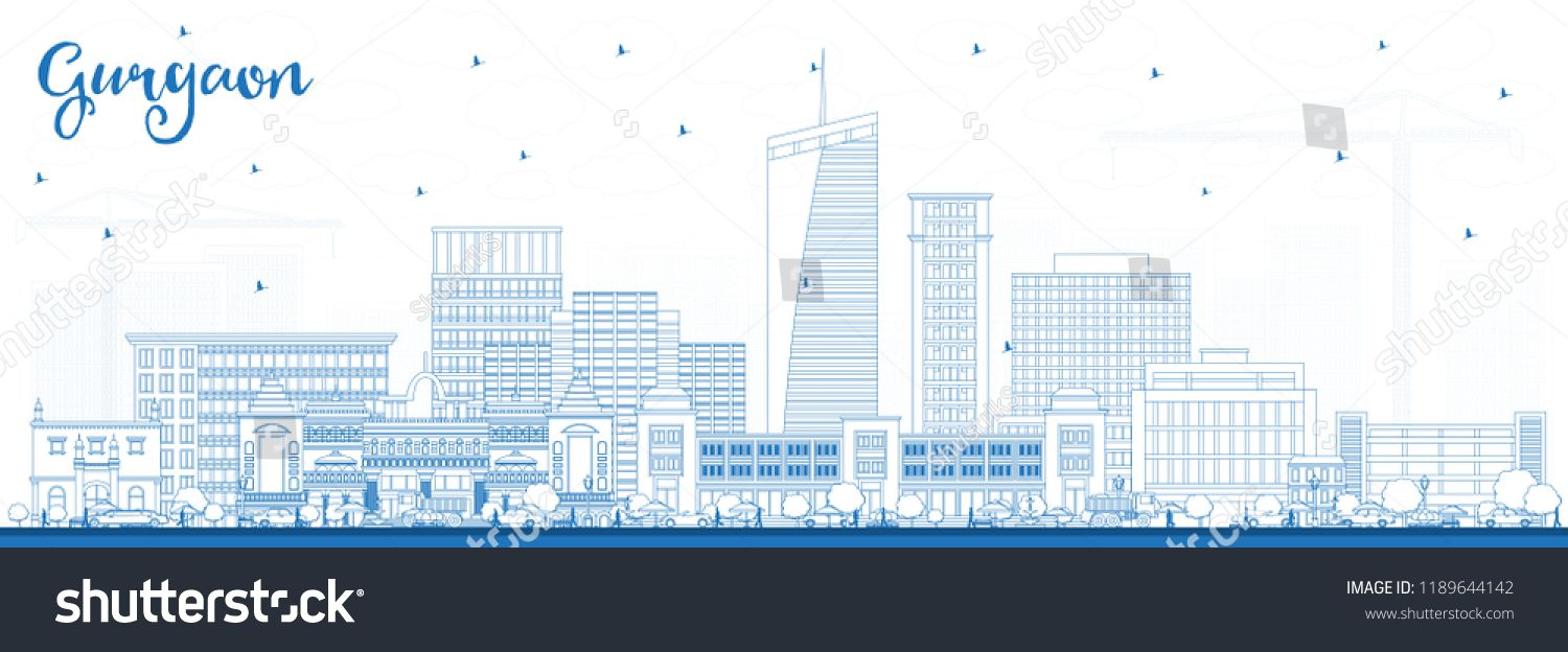 royalty free download Urban vector city gurgaon. Outline india skyline with