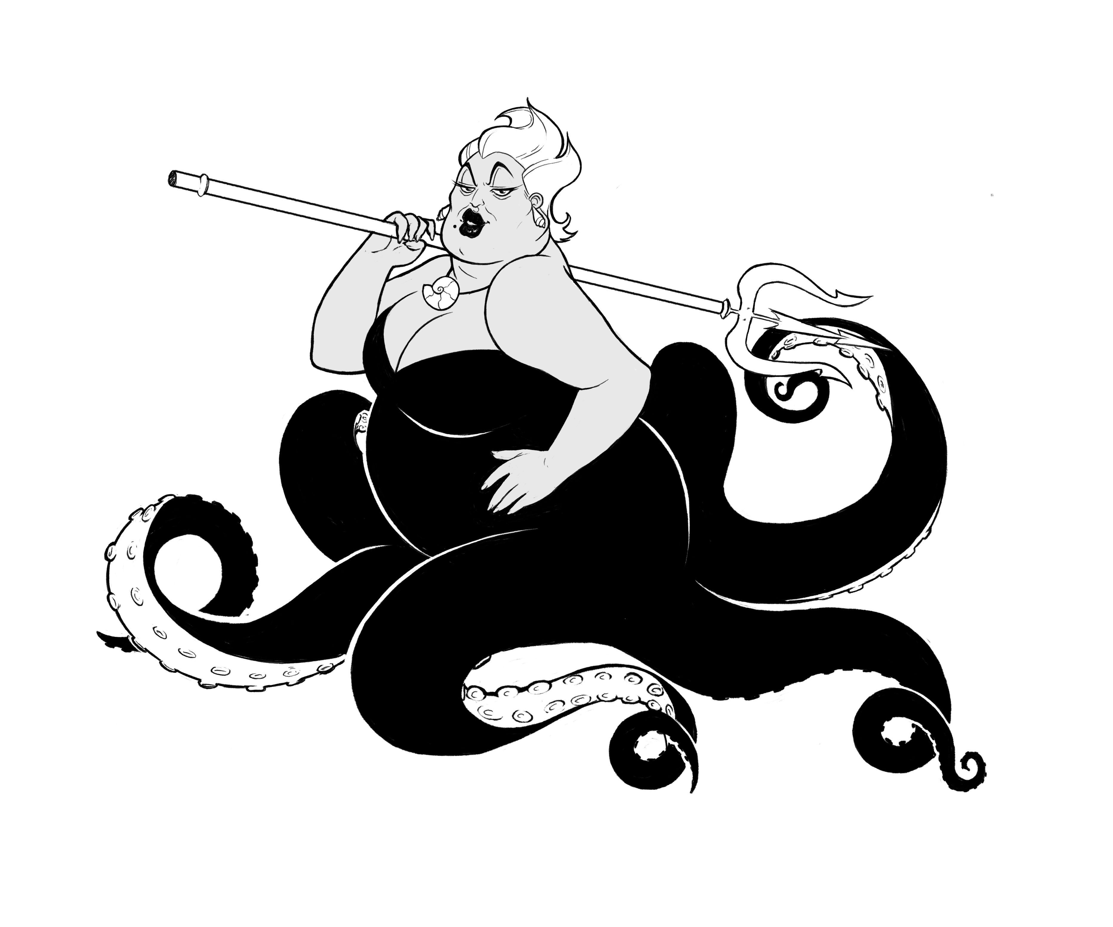 picture black and white download Disney villain from the. Ursula drawing black and white