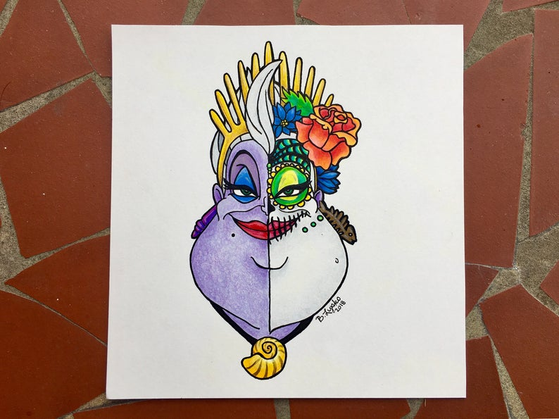 graphic library library Ursula drawing colored pencil. Inspired disney original pen