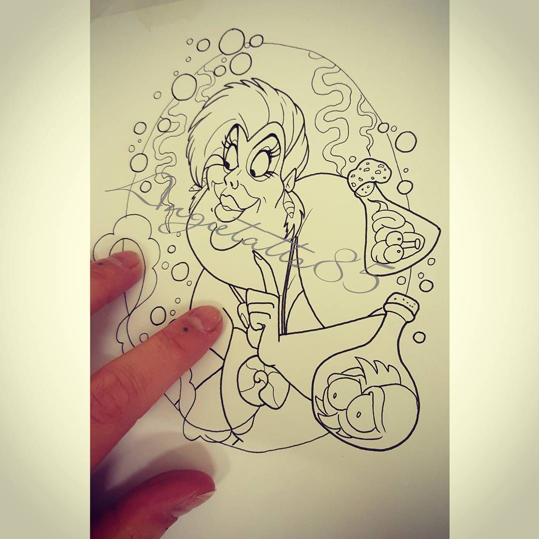 picture stock Drawn this the sea. Ursula drawing tattoo