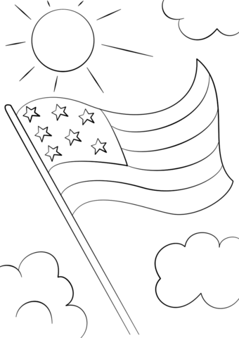 picture black and white Cartoon flag free printable. Usa drawing coloring page